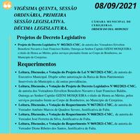 25° Sessão Sessão Ordinária 08/09/2021.